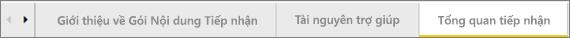 Sử dụng các tab ở cuối bảng điều khiển để dẫn hướng đến các trang khác nhau