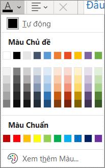 Ảnh chụp màn hình tùy chọn màu phông chữ trong menu Trang đầu.