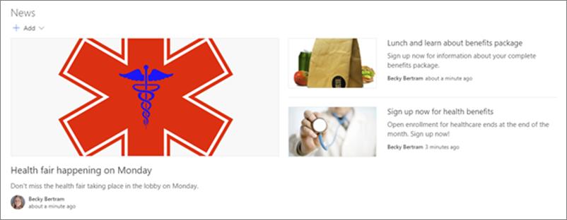 Ví dụ về một site liên lạc của bộ phận