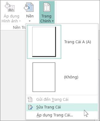 Ảnh chụp màn hình của danh sách thả xuống Chỉnh sửa Trang Cái trong Publisher.