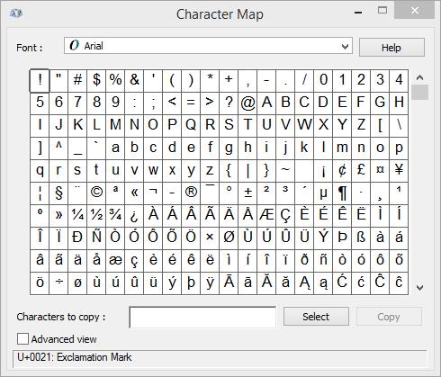 Chương trình bản đồ ký tự Windows