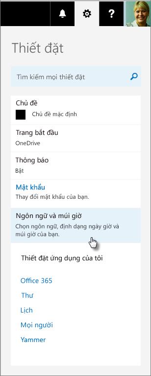 Ngăn thiết đặt Office 365.