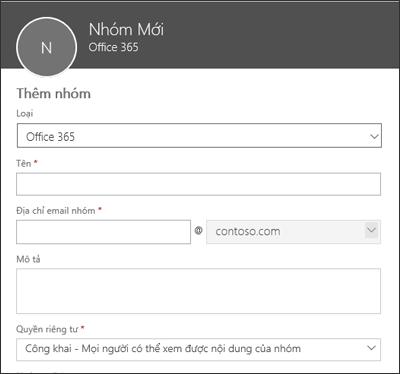 Tạo Nhóm Office 365 mới, danh sách phân phối mới hoặc nhóm bảo mật mới