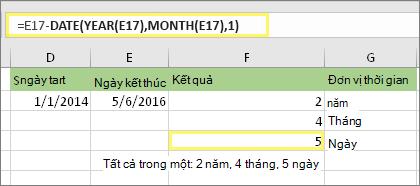 "=DATEDIF(D17,E17,""md"") và kết quả: 5"