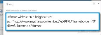 Screenshot of  embed code for a video that was copied from a video sharing site. The embed code is fictional.