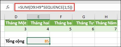 Sử dụng hằng số mảng trong công thức. Trong ví dụ này, chúng tôi đã dùng = SUM (D9: H (* SEQUENCE (1, 5))