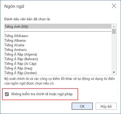 tắt kiểm tra chính tả tự động