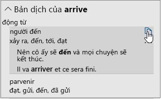 Tùy chọn dịch cho một từ