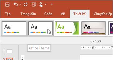 Ảnh chụp màn hình Chủ đề Office trên tab Thiết kế