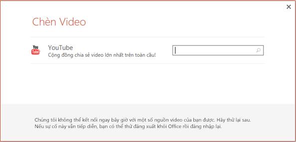 Đây là hộp thoại Chèn Video Trực tuyến trong PowerPoint 2013.