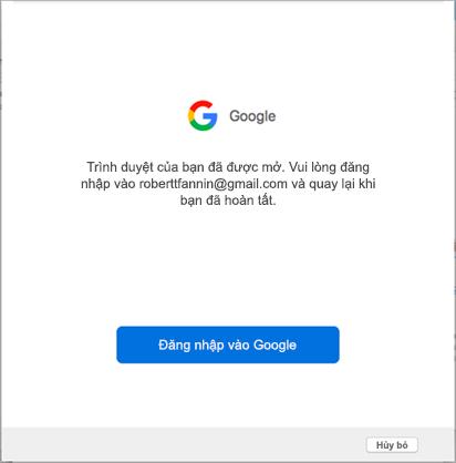 Lời nhắc đăng nhập dành cho tài khoản google