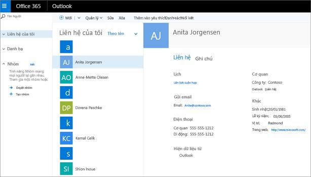 Sau khi bạn nhập liên hệ, giao diện sẽ trông như thế này trong Outlook trên web.