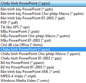 Lưu bản trình bày của bạn dưới dạng Trình chiếu PowerPoint.
