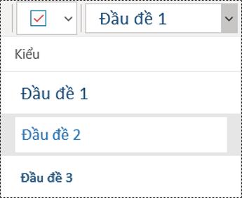 Danh sách đầu đề trong ứng dụng OneNote for Windows 10