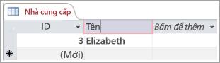 Màn hình đoạn mã của nhà cung cấp bảng hiển thị hai hàng với ID