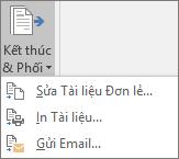 Như một phần của phối thư Word, trên tab gửi thư, trong nhóm kết thúc, chọn kết thúc & phối, rồi chọn một tùy chọn.