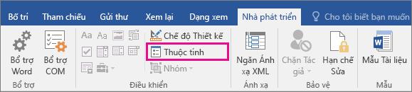 Tùy chọn Thuộc tính được tô sáng trên tab Nhà phát triển.