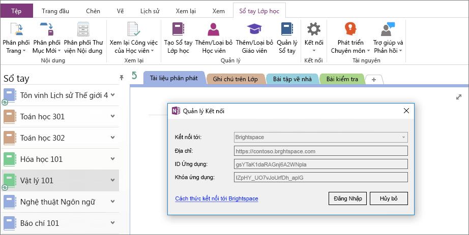 Ảnh chụp màn hình của hộp thoại kết nối của OneNote Class Notebook bổ trợ bộ với chính sách nhóm hỗ trợ.