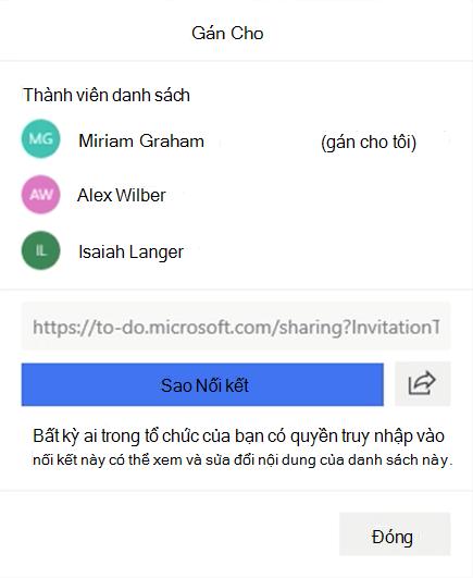 Ảnh chụp màn hình hiển thị menu sẽ mở và tùy chọn gán cho các thành viên danh sách: Miriam Graham, Alex Wilber và Isaiah Langer cũng như tùy chọn sao chép và chia sẻ liên kết danh sách.