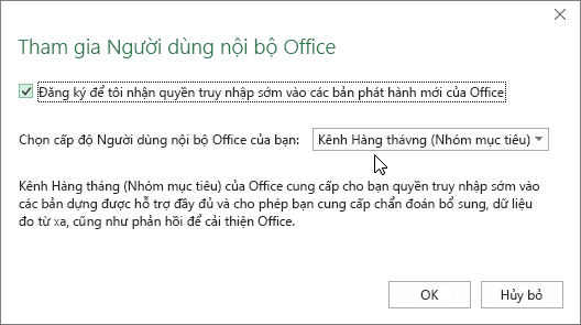 Hộp thoại Tham gia Người dùng nội bộ Office với tùy chọn cấp độ Kênh Hàng tháng (Nhóm mục tiêu)