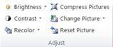 Nhóm điều chỉnh của tab Công cụ Hình ảnh trong Publisher 2010
