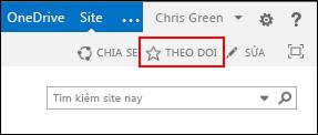 Theo dõi site SharePoint Online và thêm nối kết đến trang Site của bạn trong Office 365.