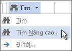 Tùy chọn tìm nâng cao trên menu Tìm