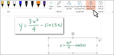 Phương trình viết tay và chính phương trình đó được chuyển đổi thành văn bản và số được định dạng