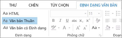 Các tùy chọn định dạng thư trên tab Định dạng Văn bản