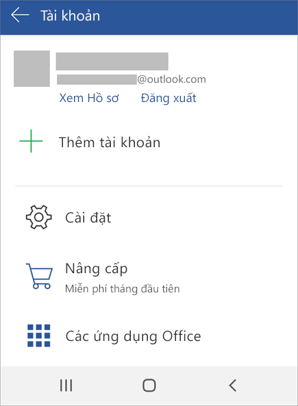 Hiển thị tùy chọn để đăng xuất khỏi Office trên thiết bị Android