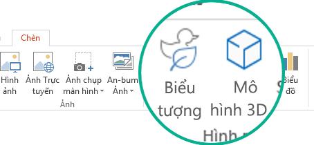 Các nút dành cho các Biểu tượng và Mô hình 3D trên tab Chèn của dải băng thanh công cụ trong Office 365