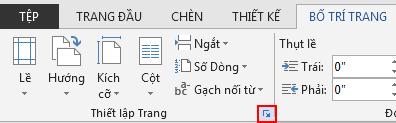 Trên tab BỐ TRÍ TRANG, biểu tượng Thiết lập Trang ở phía dưới bên phải sẽ mở cửa sổ Thiết lập Trang.