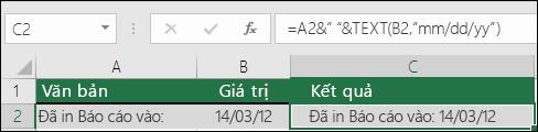 Ví dụ về việc ghép văn bản sử dụng hàm TEXT