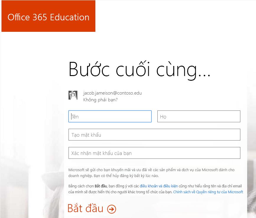 Ảnh chụp màn hình của trang tạo mật khẩu cho quy trình đăng ký Office 365.