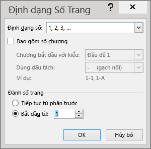 Các tùy chọn trong hộp thoại Định dạng Số Trang được hiển thị.