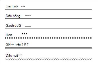 Bảng các dòng nhập một số ký tự 3 lần tạo ra