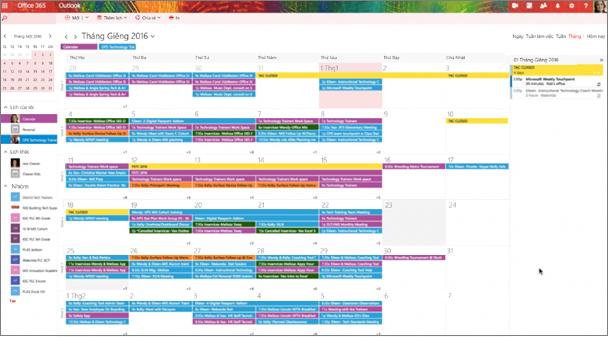 Ví dụ về lịch nhóm với màu mã hóa để cho biết các nhóm khác nhau