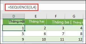 Tạo hằng số 3 hàng theo mảng 4 cột với = SEQUENCE (3, 4)