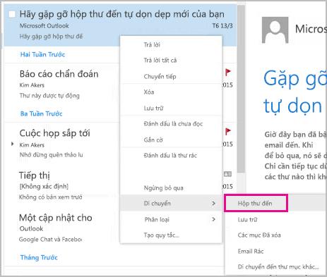 Khôi phục và di chuyển email vào hộp thư đến của bạn