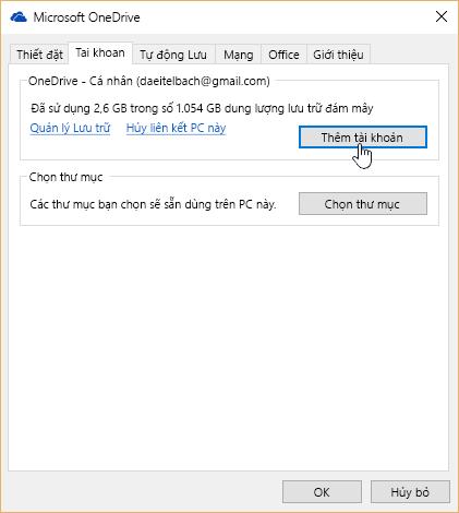 Tab Tài khoản trong cài đặt OneDrive.