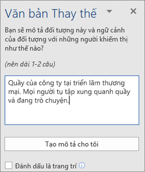 Hộp thoại Văn bản thay thế trong Word for Windows