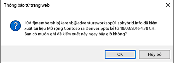ảnh chụp màn hình của các cảnh báo về kiểm nhập tệp người dùng khác