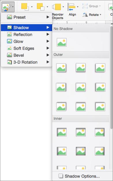Các tùy chọn đổ bóng trên menu hiệu ứng hình ảnh