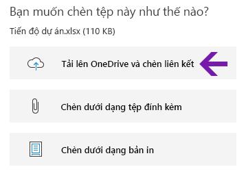 Tùy chọn chèn tệp trong OneNote for Windows 10