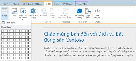 Ảnh chụp màn hình hiển thị dải băng SharePoint Online. Chọn tab Chèn, rồi chọn Chèn Bảng để chỉ định số hàng và cột cho bảng mới.