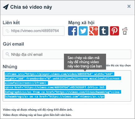 Ví dụ về cách dùng mã nhúng để nhúng nội dung trên trang SharePoint