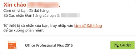 Hiển thị nút Cài đặt trong email từ Chương trình Sử dụng tại Nhà