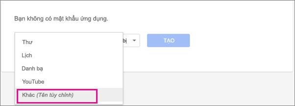 Chọn Khác (Tên tùy chỉnh) trong mục thả xuống Chọn ứng dụng