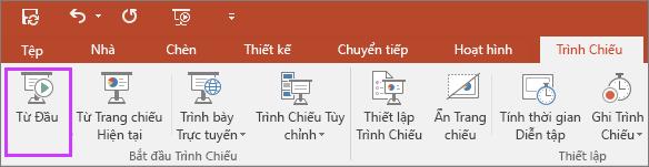 """Hiển thị nút """"từ đầu"""" trên tab trình chiếu trong PowerPoint"""