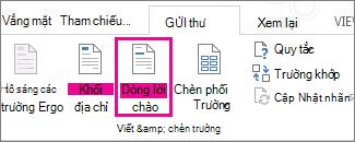 Ảnh chụp màn hình của tab thư trong Word, Hiển thị lệnh dòng lời chào dưới dạng được tô sáng.